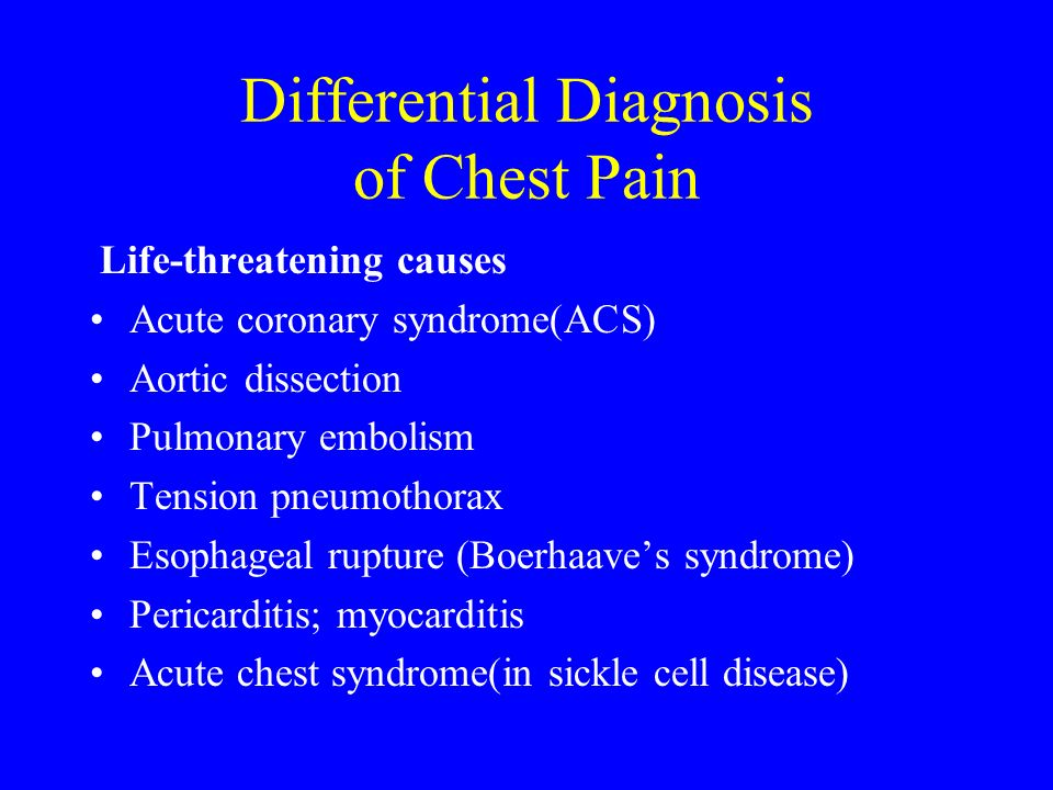 Differential Diagnosis of Chest Pain Life-threatening causes Acute coronary syndrome(ACS) Aortic dissection Pulmonary embolism Tension pneumothorax Es