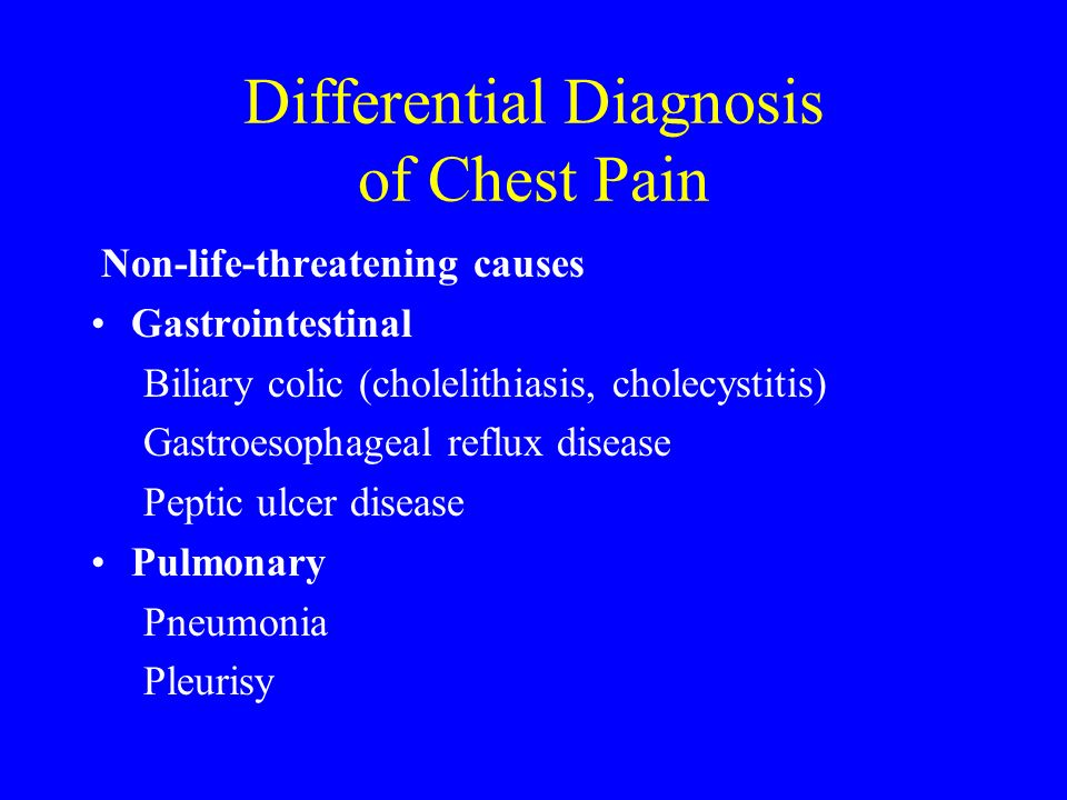 Differential Diagnosis of Chest Pain Non-life-threatening causes Gastrointestinal Biliary colic (cholelithiasis, cholecystitis) Gastroesophageal reflu
