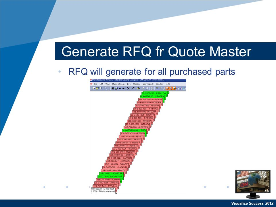 Visualize Success 2012 Generate RFQ fr Quote Master RFQ will generate for all purchased parts