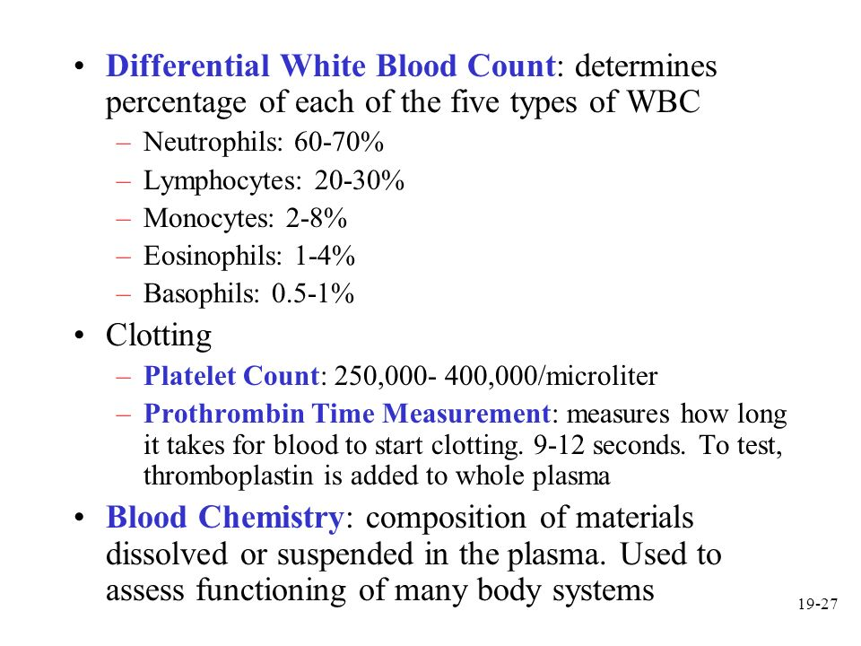 19-27 Differential White Blood Count: determines percentage of each of the five types of WBC –Neutrophils: 60-70% –Lymphocytes: 20-30% –Monocytes: 2-8