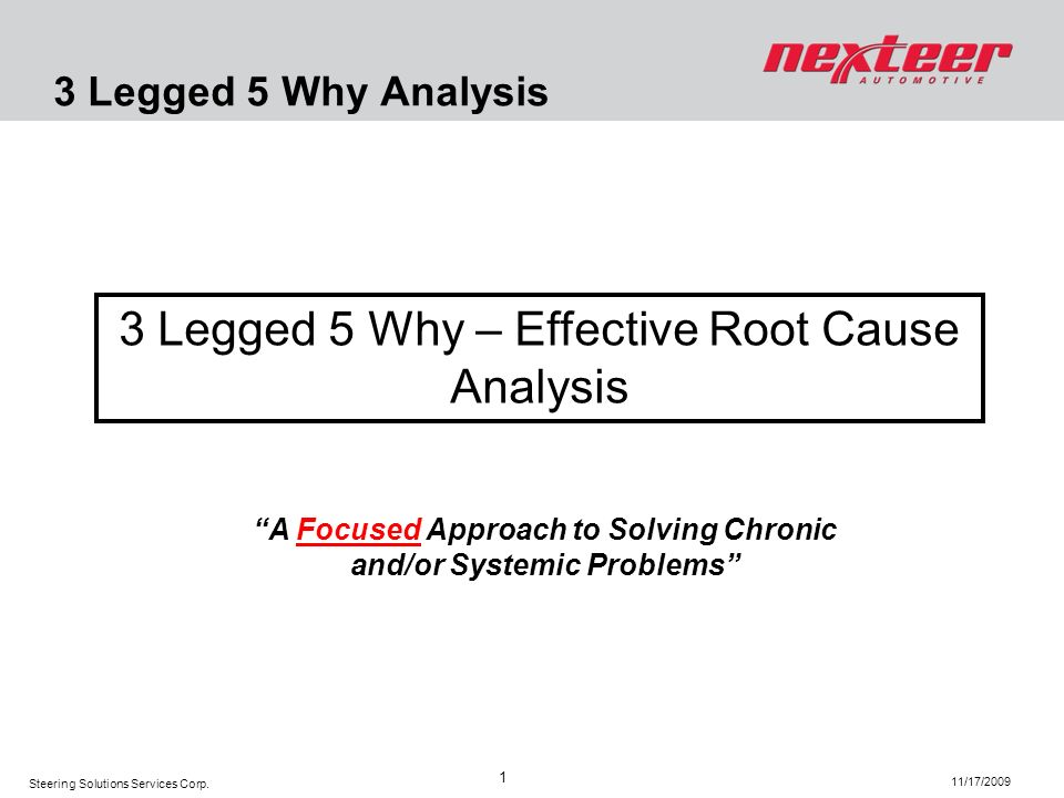 Steering Solutions Services Corp. 11/17/2009 1 3 Legged 5 Why Analysis 3 Legged 5 Why – Effective Root Cause Analysis A Focused Approach to Solving Ch