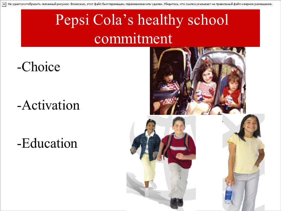 Pepsi Colas healthy school commitment -Choice -Activation -Education