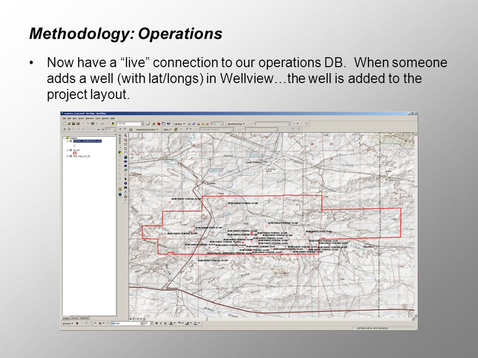 Methodology: Operations Now have a live connection to our operations DB. When someone adds a well (with lat/longs) in Wellview…the well is added to th