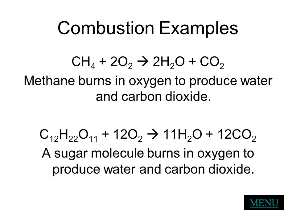 Combustion Examples CH 4 + 2O 2 2H 2 O + CO 2 Methane burns in oxygen to produce water and carbon dioxide. C 12 H 22 O 11 + 12O 2 11H 2 O + 12CO 2 A s