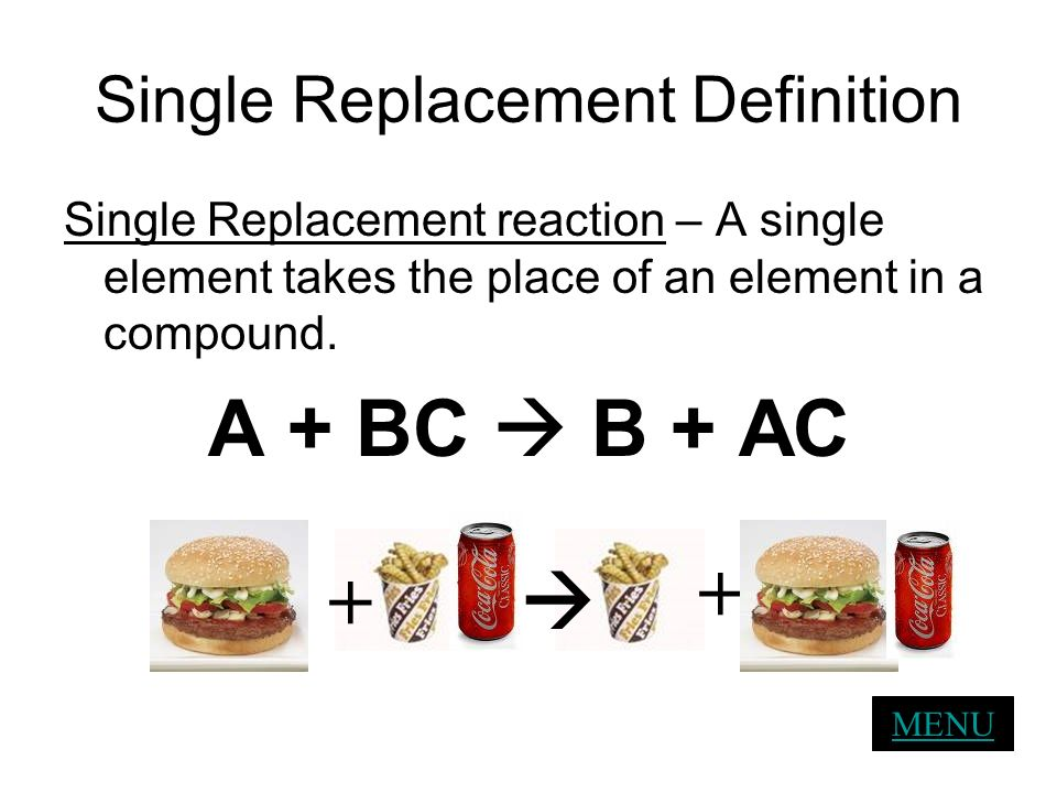 Single Replacement Definition Single Replacement reaction – A single element takes the place of an element in a compound. A + BC B + AC MENU + +