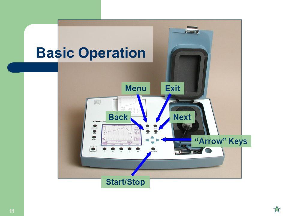 11 Exit Menu BackNext Arrow Keys Start/Stop Basic Operation