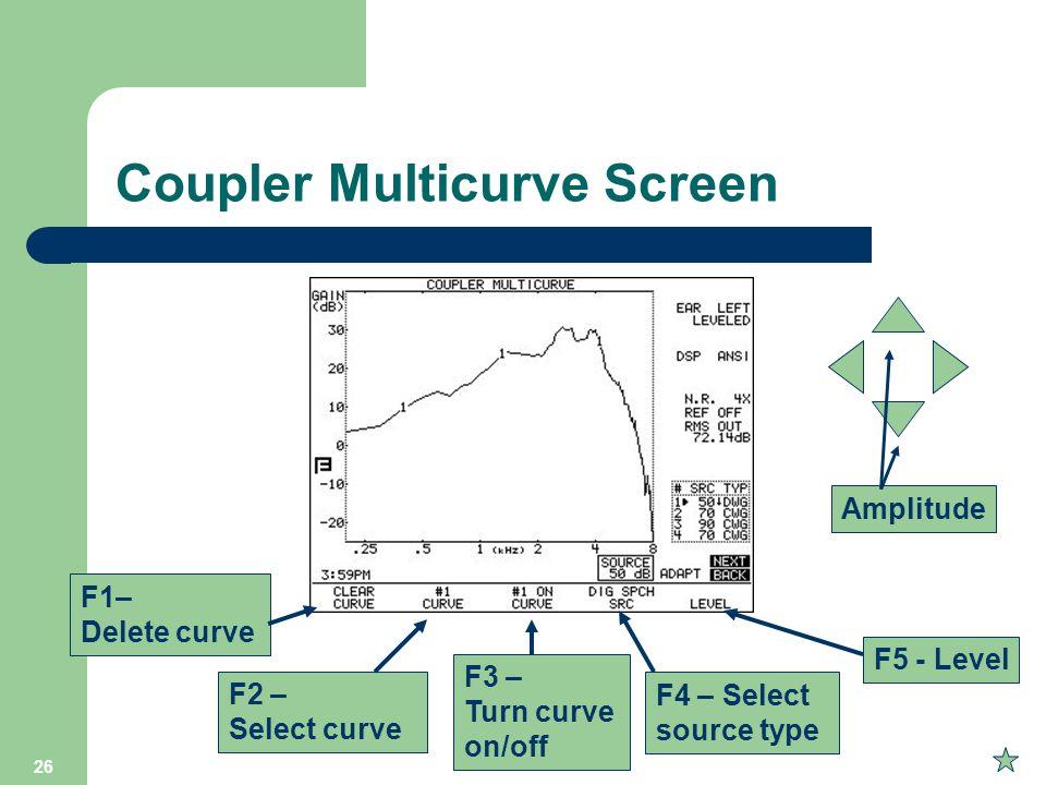 26 Coupler Multicurve Screen F1– Delete curve F2 – Select curve F3 – Turn curve on/off F4 – Select source type F5 - Level Amplitude