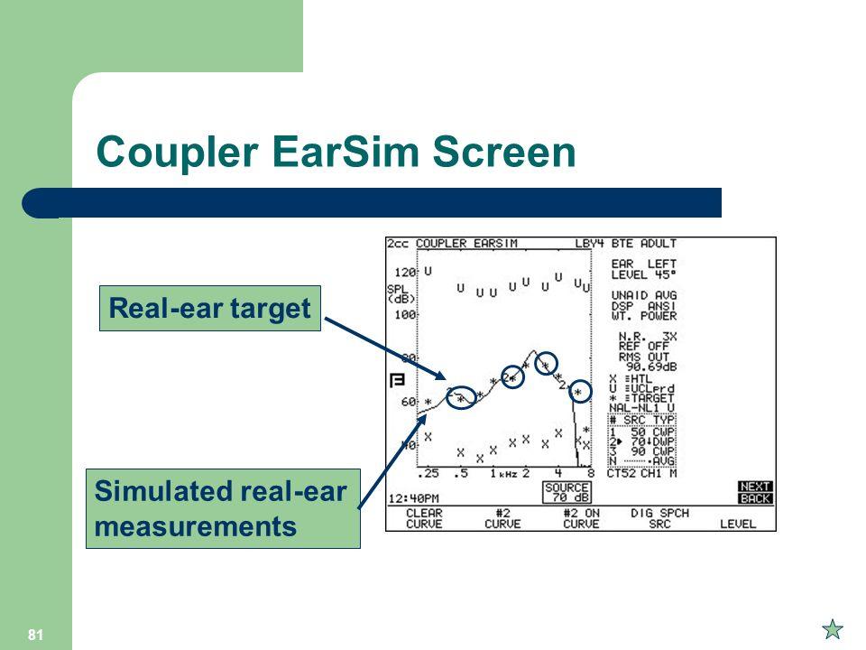 81 Coupler EarSim Screen Simulated real-ear measurements Real-ear target