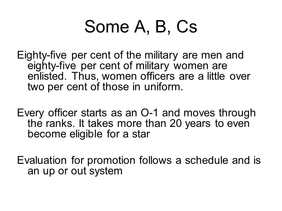 Some A, B, Cs Eighty-five per cent of the military are men and eighty-five per cent of military women are enlisted. Thus, women officers are a little