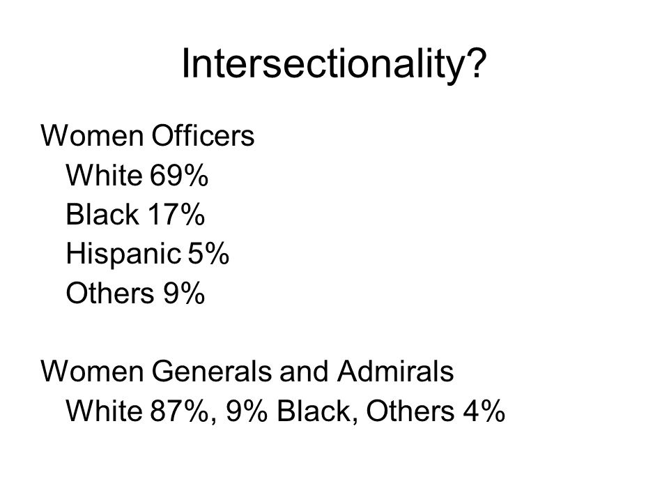 Intersectionality? Women Officers White 69% Black 17% Hispanic 5% Others 9% Women Generals and Admirals White 87%, 9% Black, Others 4%