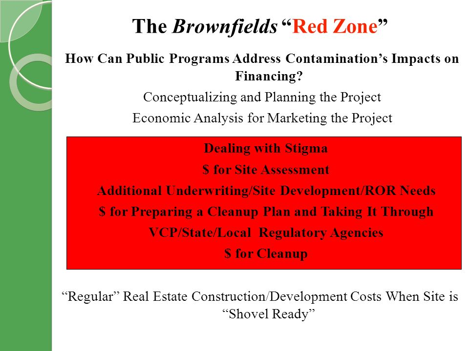 The Brownfields Red Zone How Can Public Programs Address Contaminations Impacts on Financing.