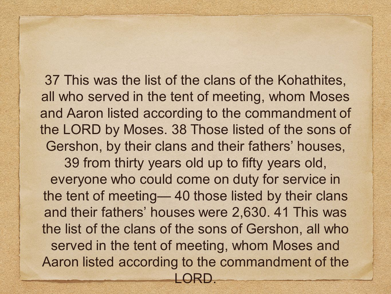 37 This was the list of the clans of the Kohathites, all who served in the tent of meeting, whom Moses and Aaron listed according to the commandment o