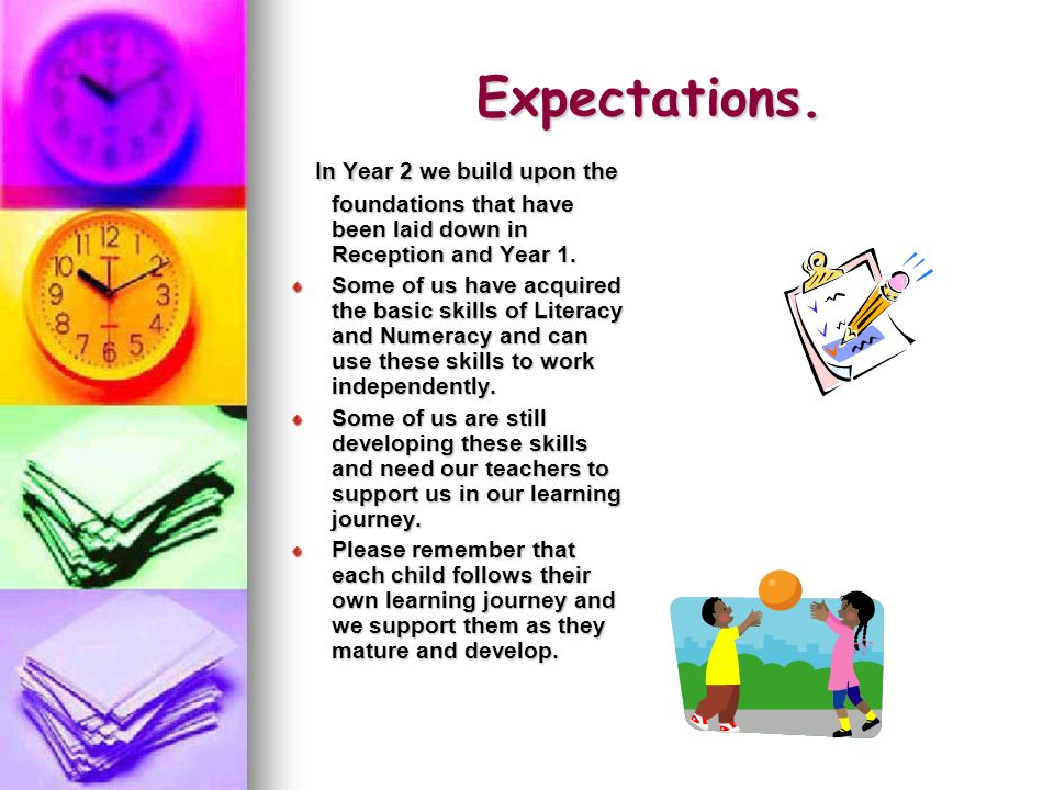 Expectations. In Year 2 we build upon the foundations that have been laid down in Reception and Year 1. In Year 2 we build upon the foundations that h