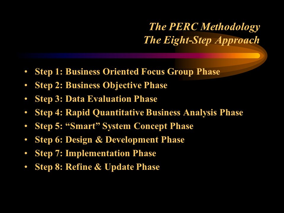 The PERC Methodology The Eight-Step Approach Step 1: Business Oriented Focus Group Phase Step 2: Business Objective Phase Step 3: Data Evaluation Phas
