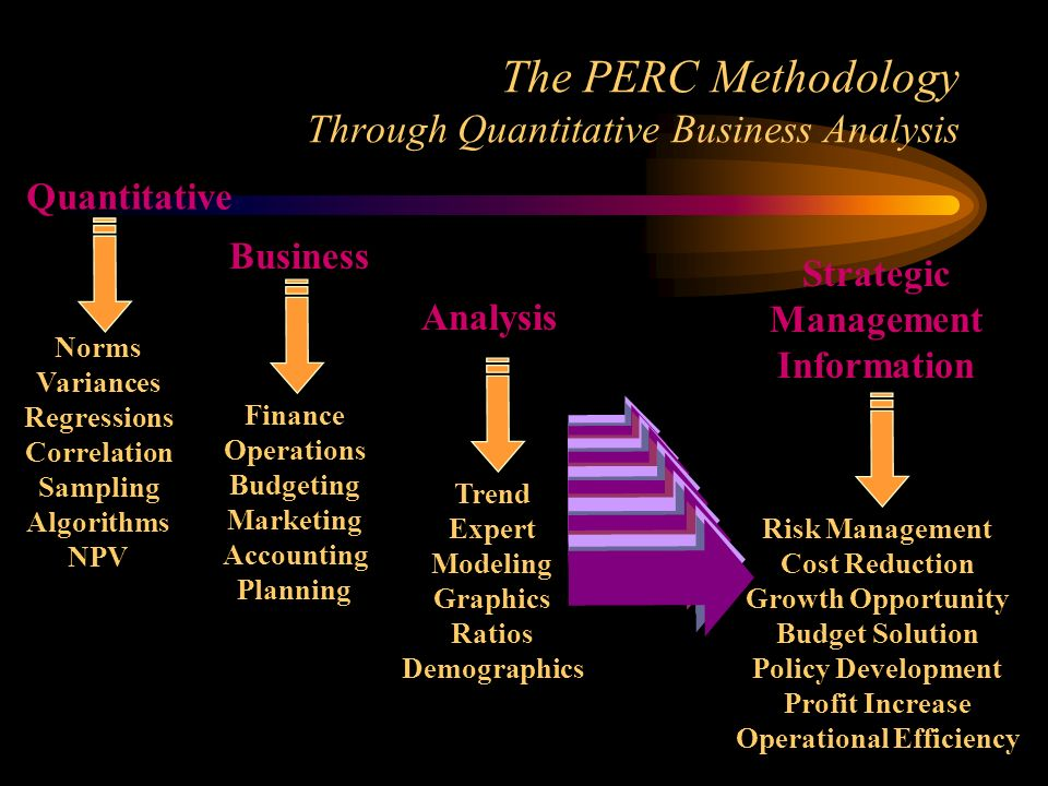 The PERC Methodology Through Quantitative Business Analysis Risk Management Cost Reduction Growth Opportunity Budget Solution Policy Development Profit Increase Operational Efficiency Norms Variances Regressions Correlation Sampling Algorithms NPV Finance Operations Budgeting Marketing Accounting Planning Trend Expert Modeling Graphics Ratios Demographics Quantitative Business Analysis Strategic Management Information