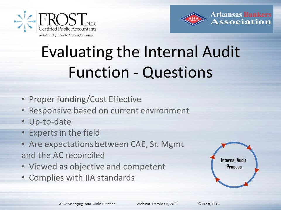 Evaluating the Internal Audit Function - Questions Proper funding/Cost Effective Responsive based on current environment Up-to-date Experts in the fie