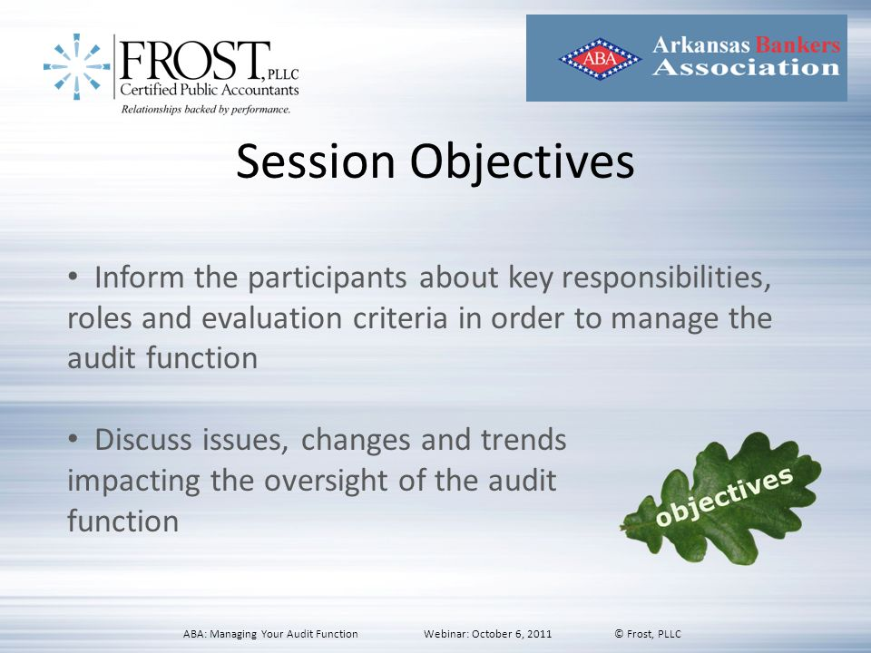 Session Objectives Inform the participants about key responsibilities, roles and evaluation criteria in order to manage the audit function Discuss iss