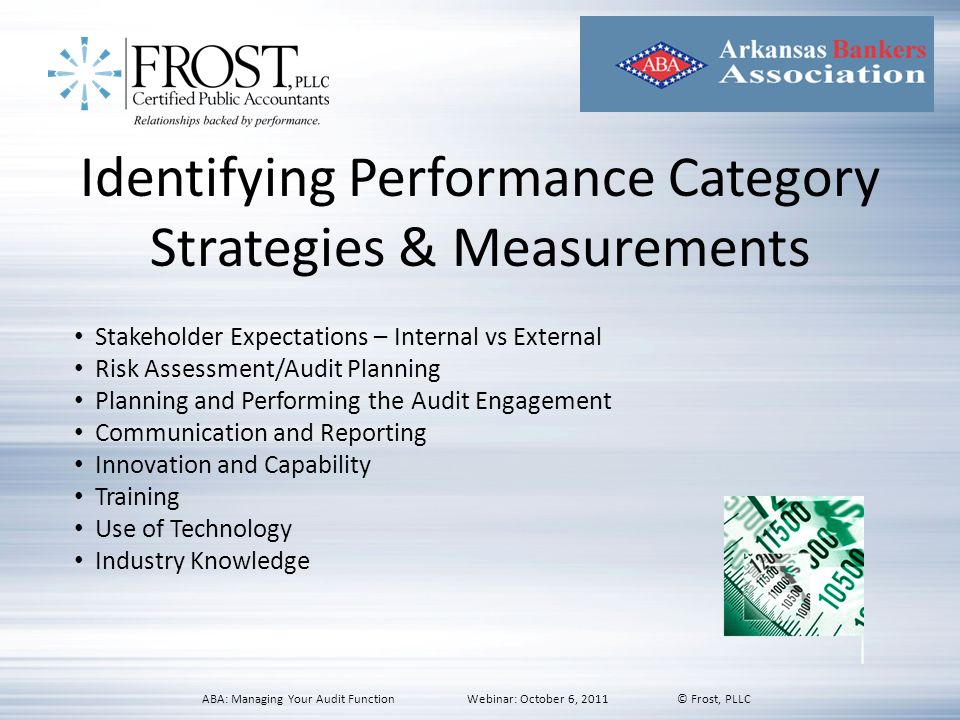 Identifying Performance Category Strategies & Measurements Stakeholder Expectations – Internal vs External Risk Assessment/Audit Planning Planning and