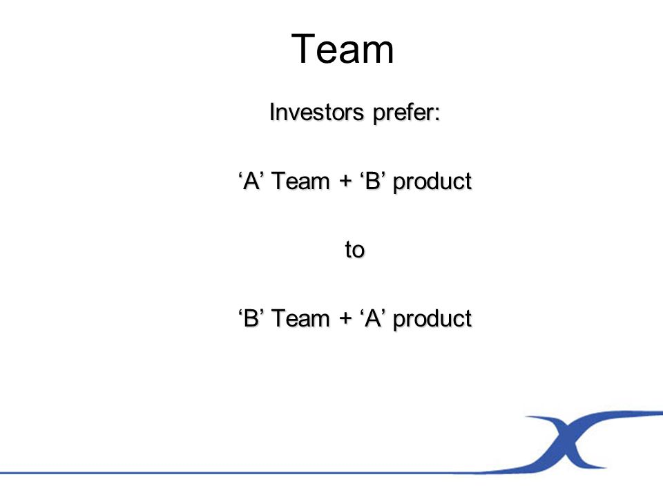 Team Investors prefer: A Team + B product to B Team + A product