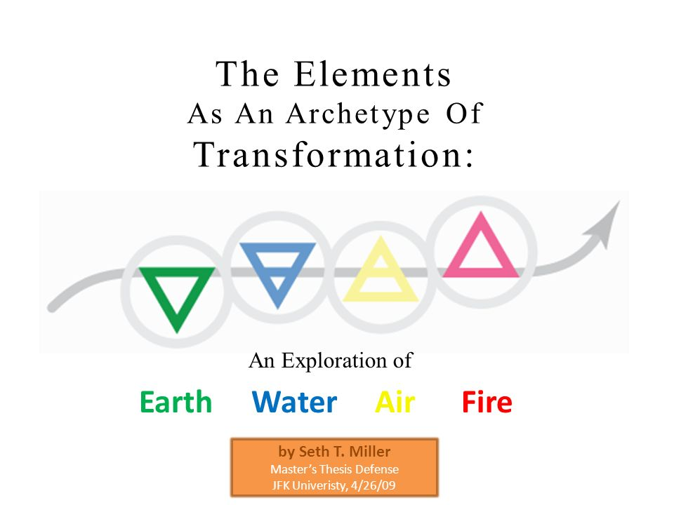 The Elements As An Archetype Of Transformation: Earth Water Air Fire An Exploration of by Seth T. Miller Masters Thesis Defense JFK Univeristy, 4/26/0