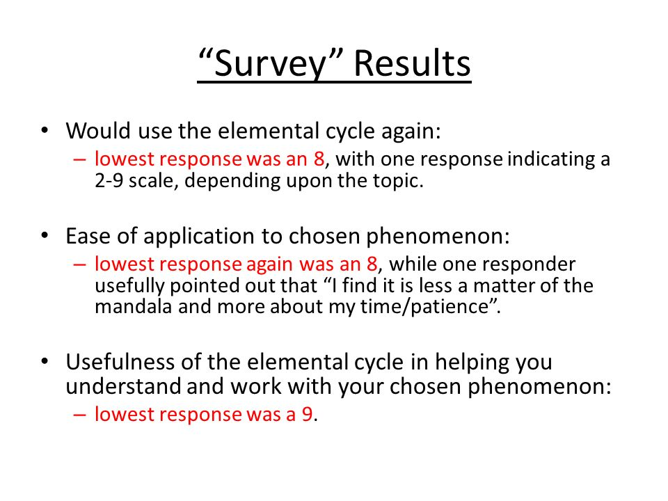 Survey Results Would use the elemental cycle again: – lowest response was an 8, with one response indicating a 2-9 scale, depending upon the topic. Ea