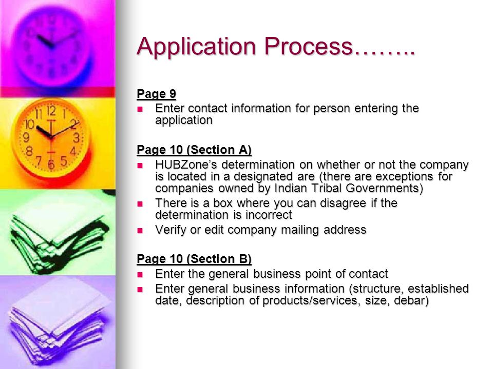 Application Process…….. Page 9 Enter contact information for person entering the application Enter contact information for person entering the applica