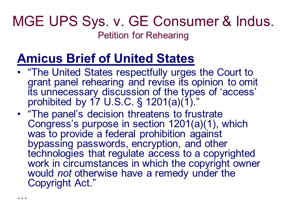 MGE UPS Sys. v. GE Consumer & Indus.