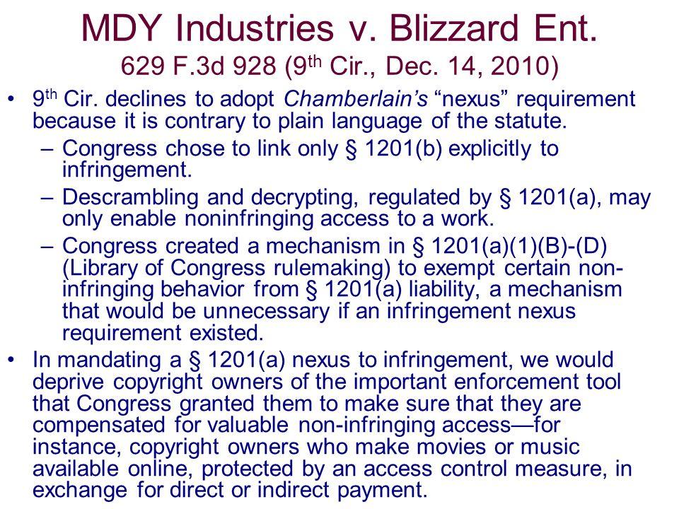 MDY Industries v. Blizzard Ent. 629 F.3d 928 (9 th Cir., Dec.
