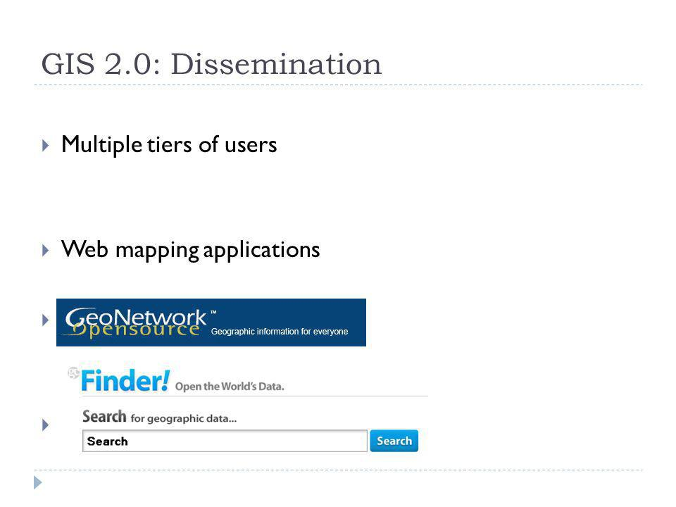 GIS 2.0: Dissemination Multiple tiers of users Web mapping applications. GeoCommons Finder!