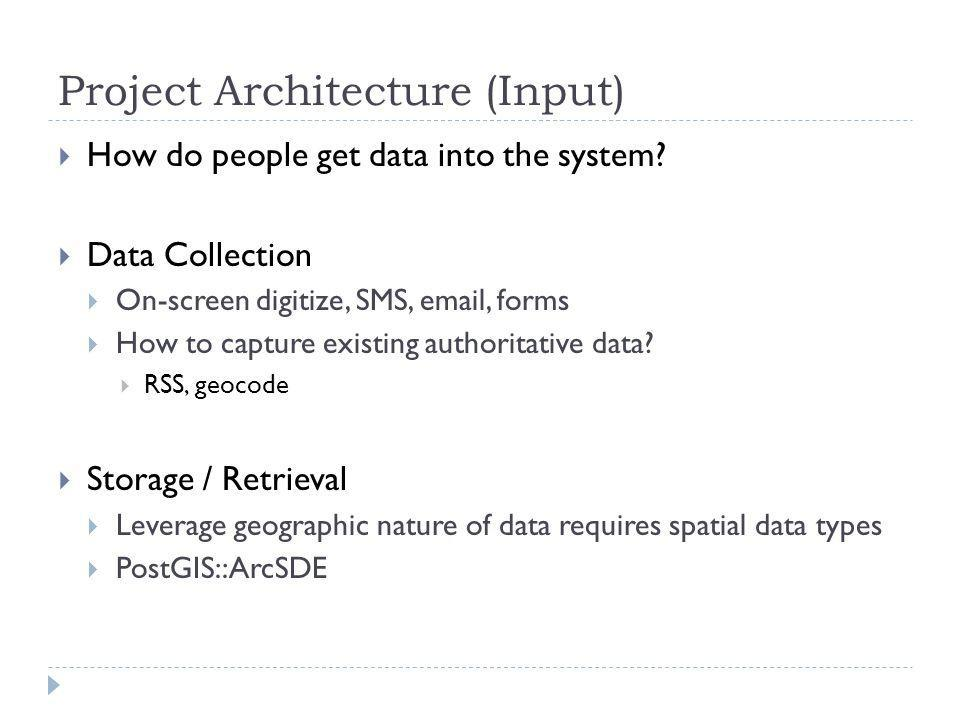 Project Architecture (Input) How do people get data into the system.