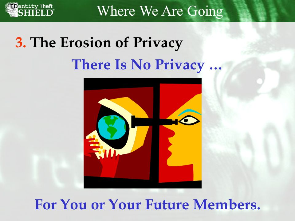 Where We Are Going 3.The Erosion of Privacy There Is No Privacy … For You or Your Future Members.