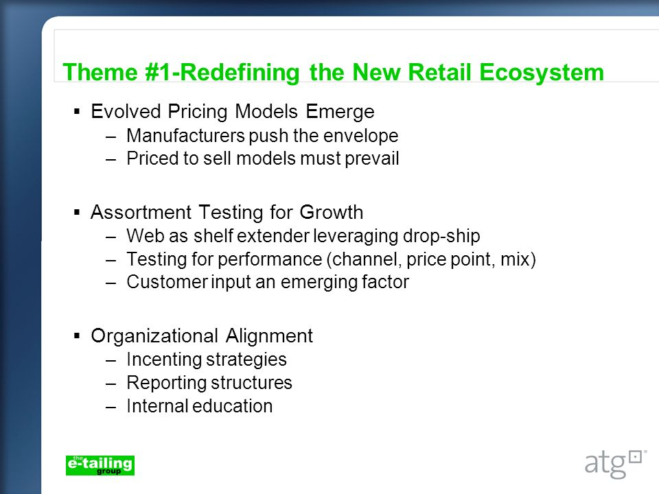 Evolved Pricing Models Emerge –Manufacturers push the envelope –Priced to sell models must prevail Assortment Testing for Growth –Web as shelf extende