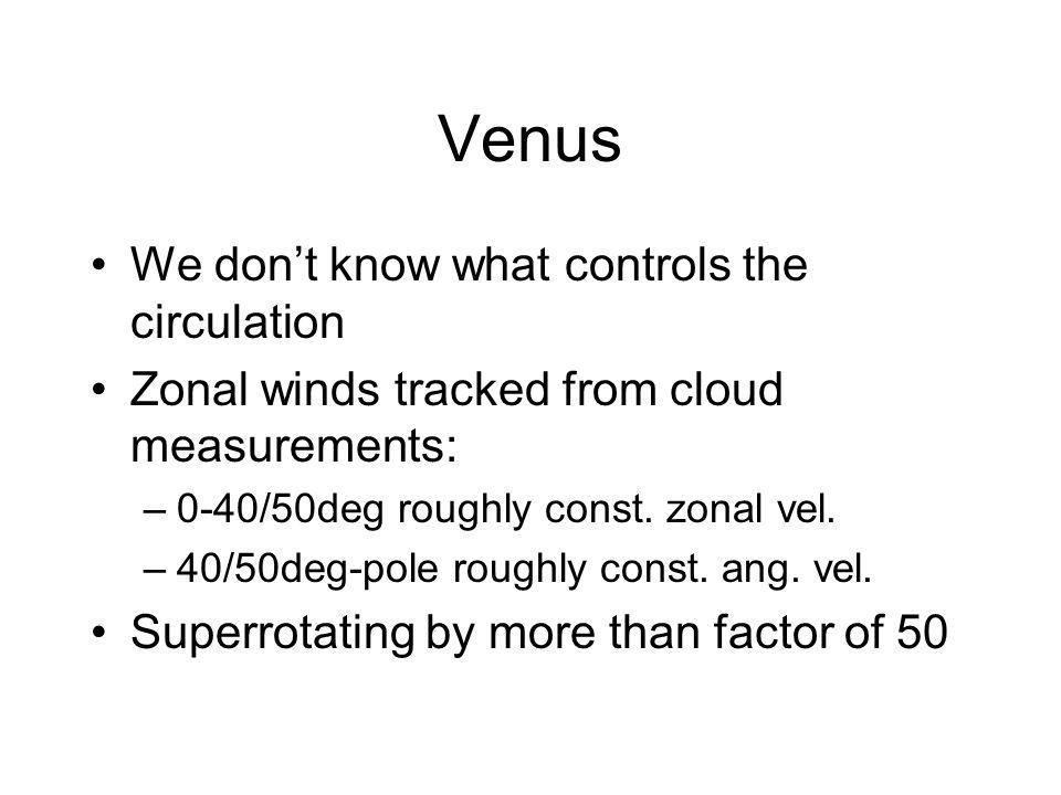 Venus We dont know what controls the circulation Zonal winds tracked from cloud measurements: –0-40/50deg roughly const.