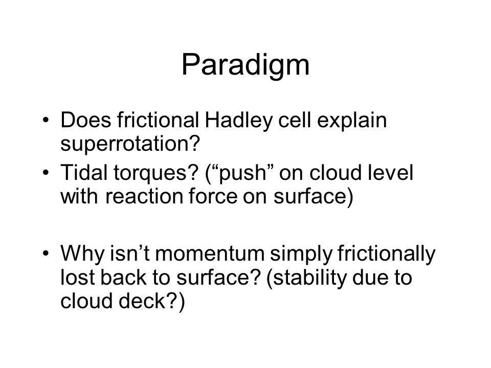 Paradigm Does frictional Hadley cell explain superrotation.