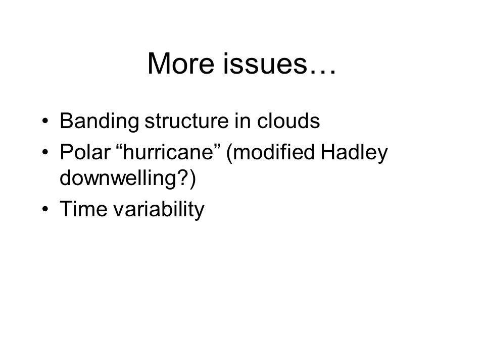 More issues… Banding structure in clouds Polar hurricane (modified Hadley downwelling ) Time variability