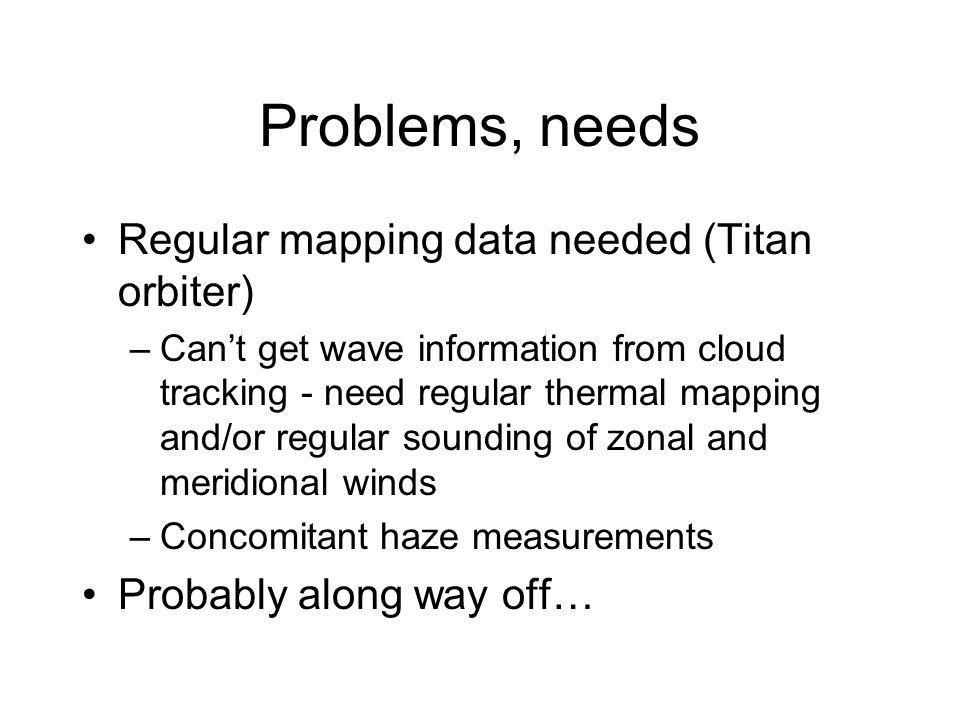 Problems, needs Regular mapping data needed (Titan orbiter) –Cant get wave information from cloud tracking - need regular thermal mapping and/or regular sounding of zonal and meridional winds –Concomitant haze measurements Probably along way off…