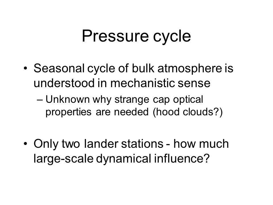 Pressure cycle Seasonal cycle of bulk atmosphere is understood in mechanistic sense –Unknown why strange cap optical properties are needed (hood clouds ) Only two lander stations - how much large-scale dynamical influence