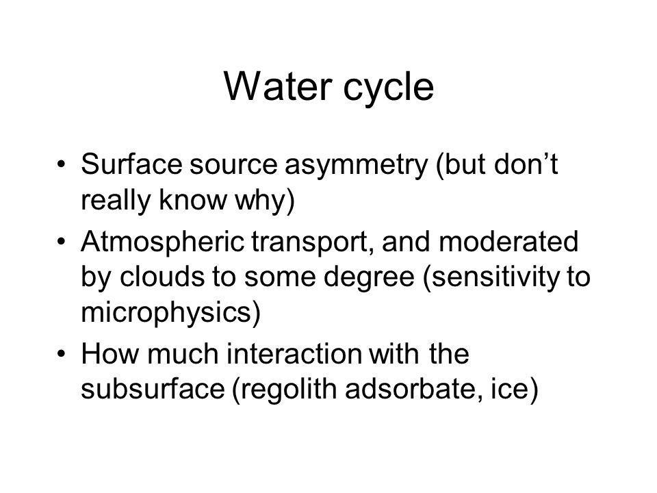 Water cycle Surface source asymmetry (but dont really know why) Atmospheric transport, and moderated by clouds to some degree (sensitivity to microphysics) How much interaction with the subsurface (regolith adsorbate, ice)