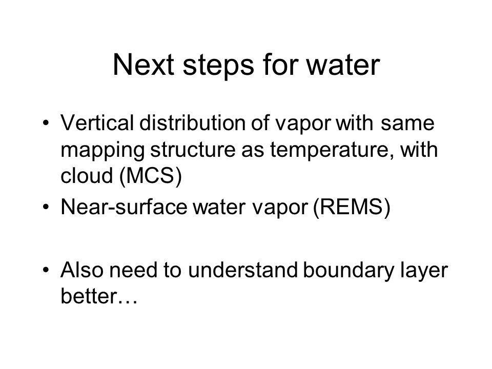 Next steps for water Vertical distribution of vapor with same mapping structure as temperature, with cloud (MCS) Near-surface water vapor (REMS) Also need to understand boundary layer better…