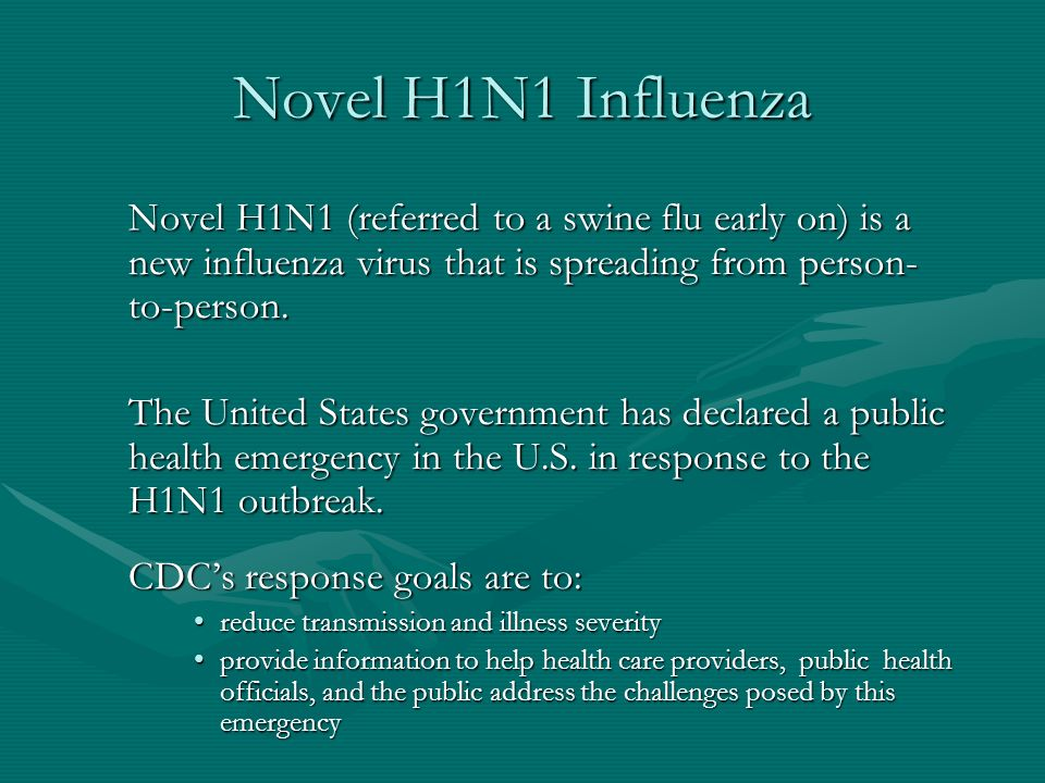Novel H1N1 Influenza The first cases of human infection with Novel H1N1 influenza virus were detected in April 2009 in San Diego and Imperial County, California and in Guadalupe County, Texas.The first cases of human infection with Novel H1N1 influenza virus were detected in April 2009 in San Diego and Imperial County, California and in Guadalupe County, Texas.