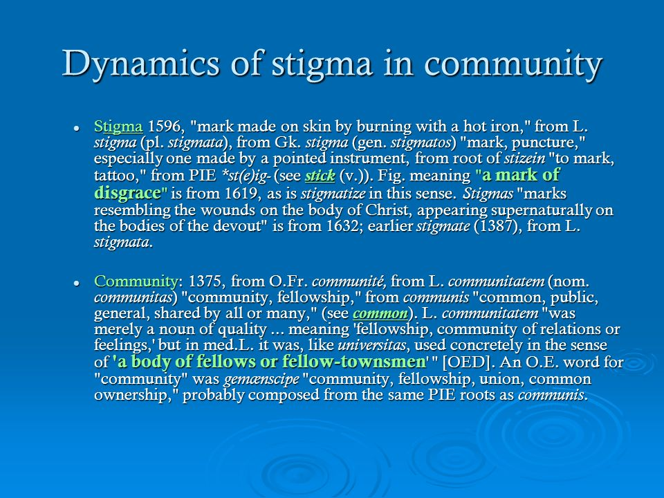 Dynamics of stigma in community Stigma 1596,