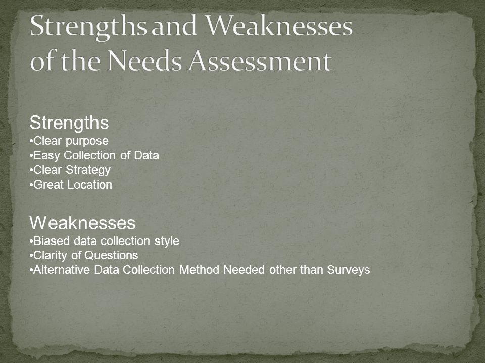 Strengths Clear purpose Easy Collection of Data Clear Strategy Great Location Weaknesses Biased data collection style Clarity of Questions Alternative Data Collection Method Needed other than Surveys