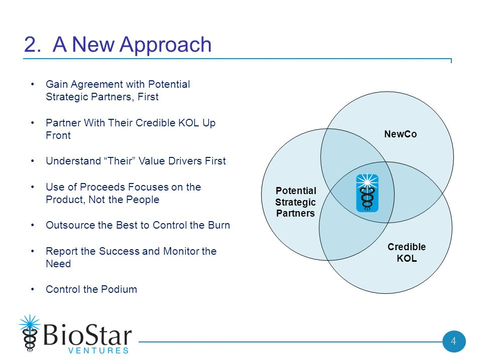 4 2. A New Approach Credible KOL NewCo Potential Strategic Partners Gain Agreement with Potential Strategic Partners, First Partner With Their Credibl