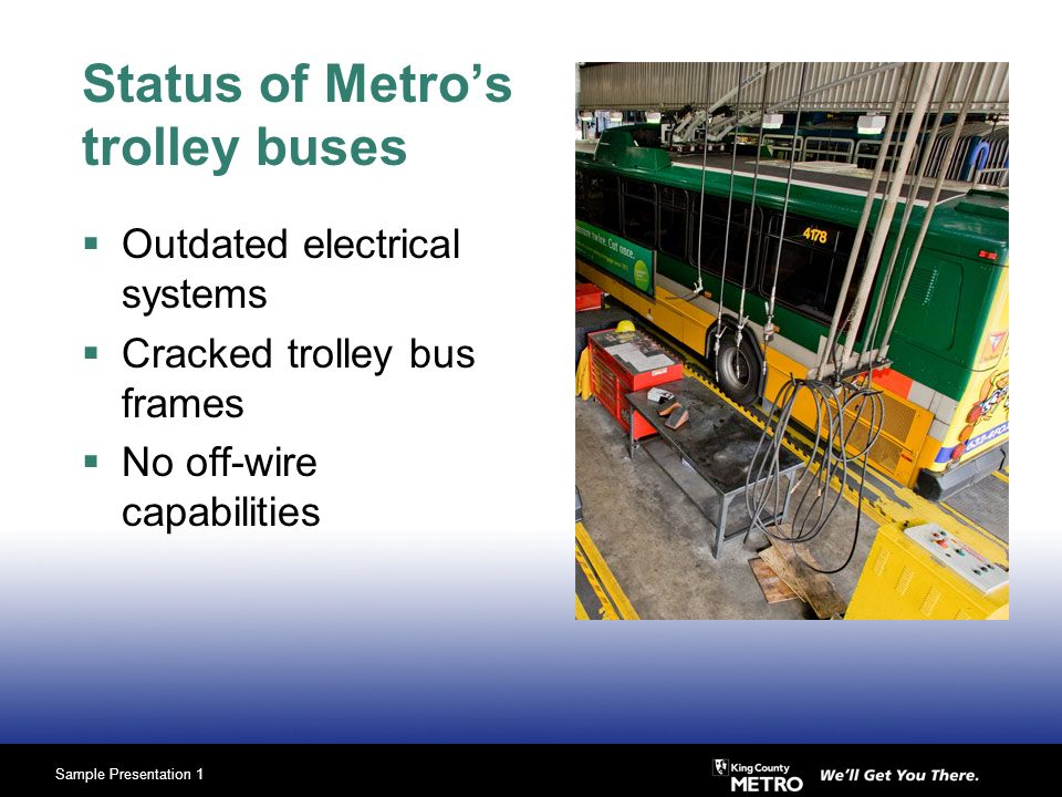 Sample Presentation 1 Status of Metros trolley buses Outdated electrical systems Cracked trolley bus frames No off-wire capabilities