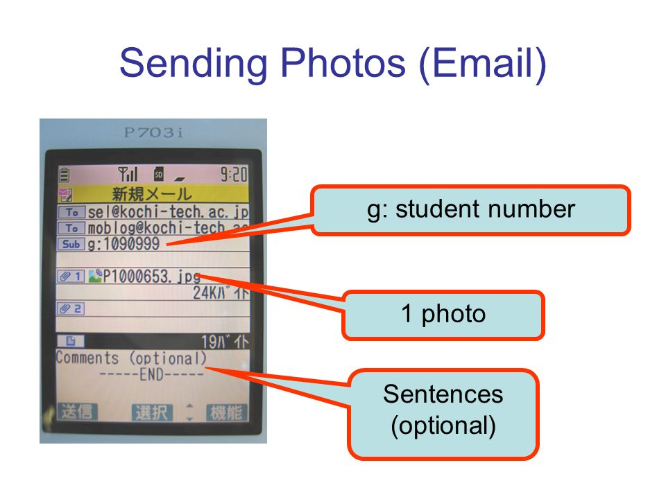 Sending Photos ( ) g: student number Sentences (optional) 1 photo