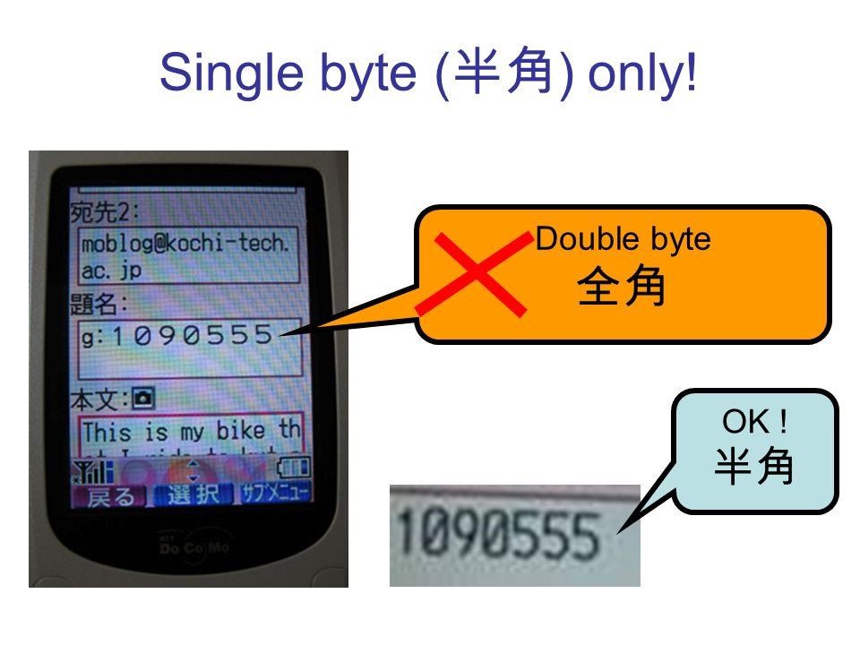 Single byte ( ) only! Double byte OK !
