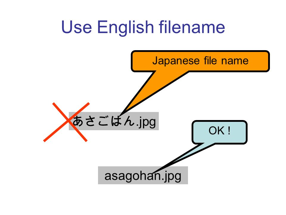 Use English filename.jpg Japanese file name asagohan.jpg OK !
