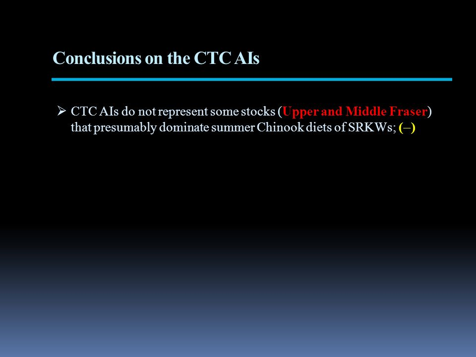 Conclusions on the CTC AIs CTC AIs do not represent some stocks (Upper and Middle Fraser) that presumably dominate summer Chinook diets of SRKWs; ( )