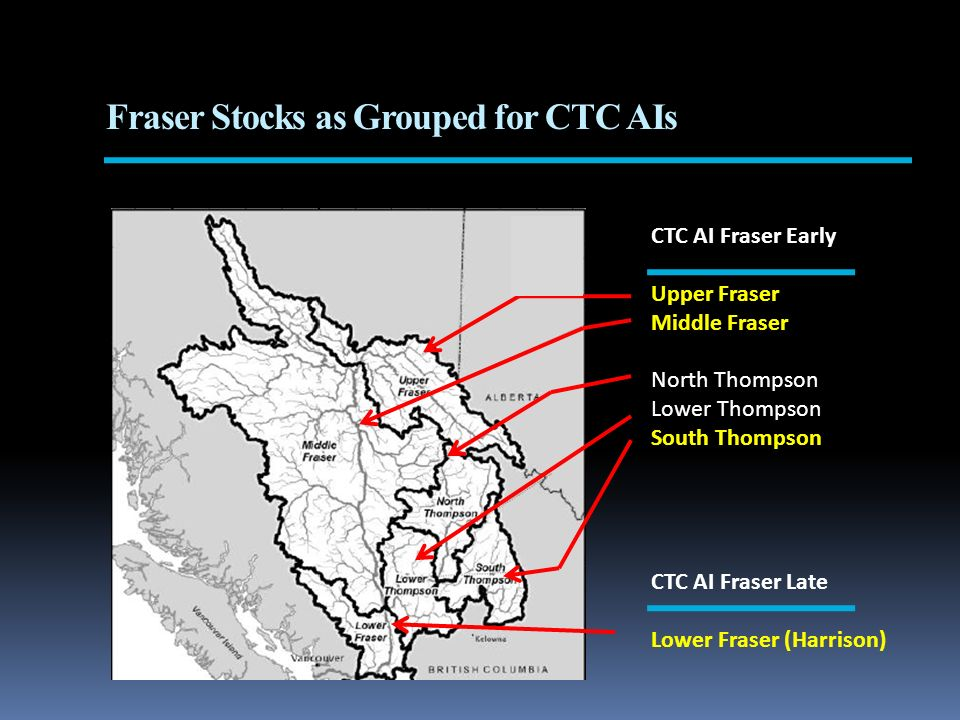 CTC AI Fraser Early Upper Fraser Middle Fraser North Thompson Lower Thompson South Thompson CTC AI Fraser Late Lower Fraser (Harrison) Fraser Stocks as Grouped for CTC AIs