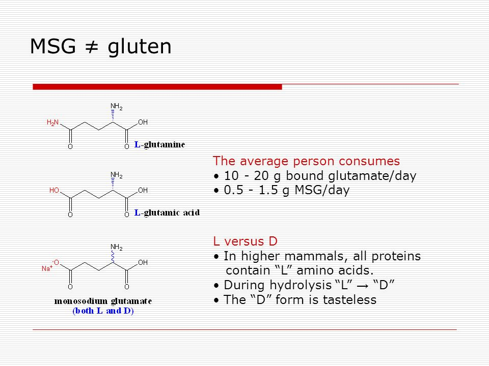The average person consumes 10 - 20 g bound glutamate/day 0.5 - 1.5 g MSG/day MSG gluten L versus D In higher mammals, all proteins contain L amino ac
